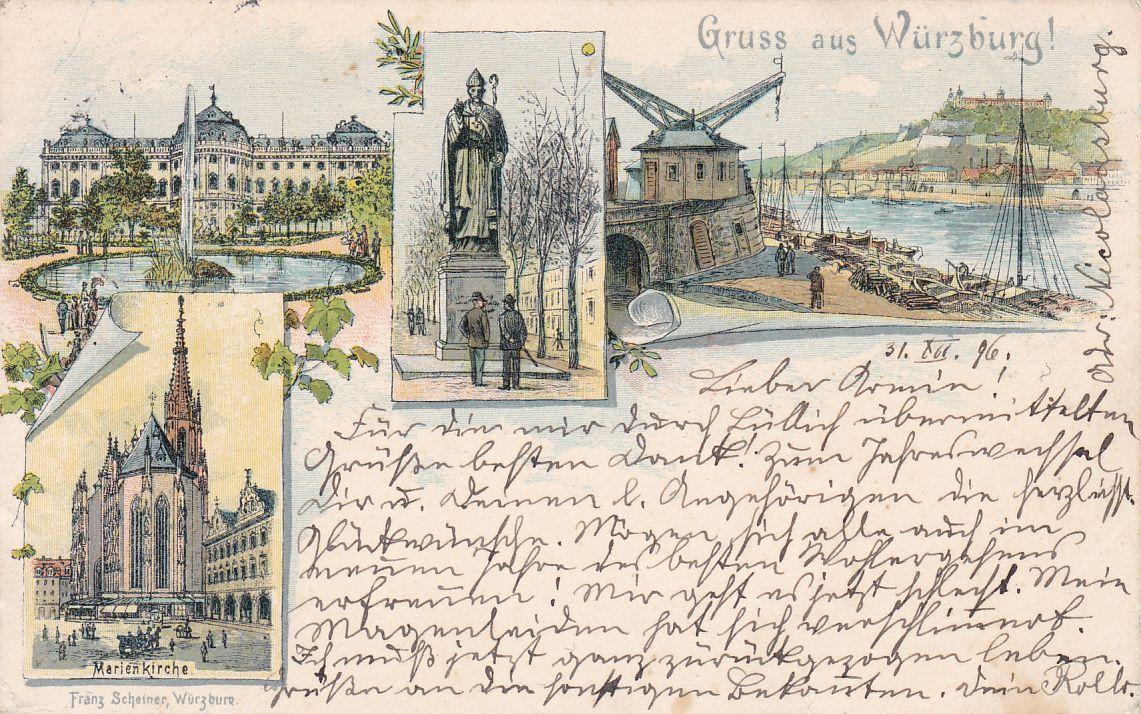 Briefmarken Ak Würzburg Minimale Gebrauchsspuren